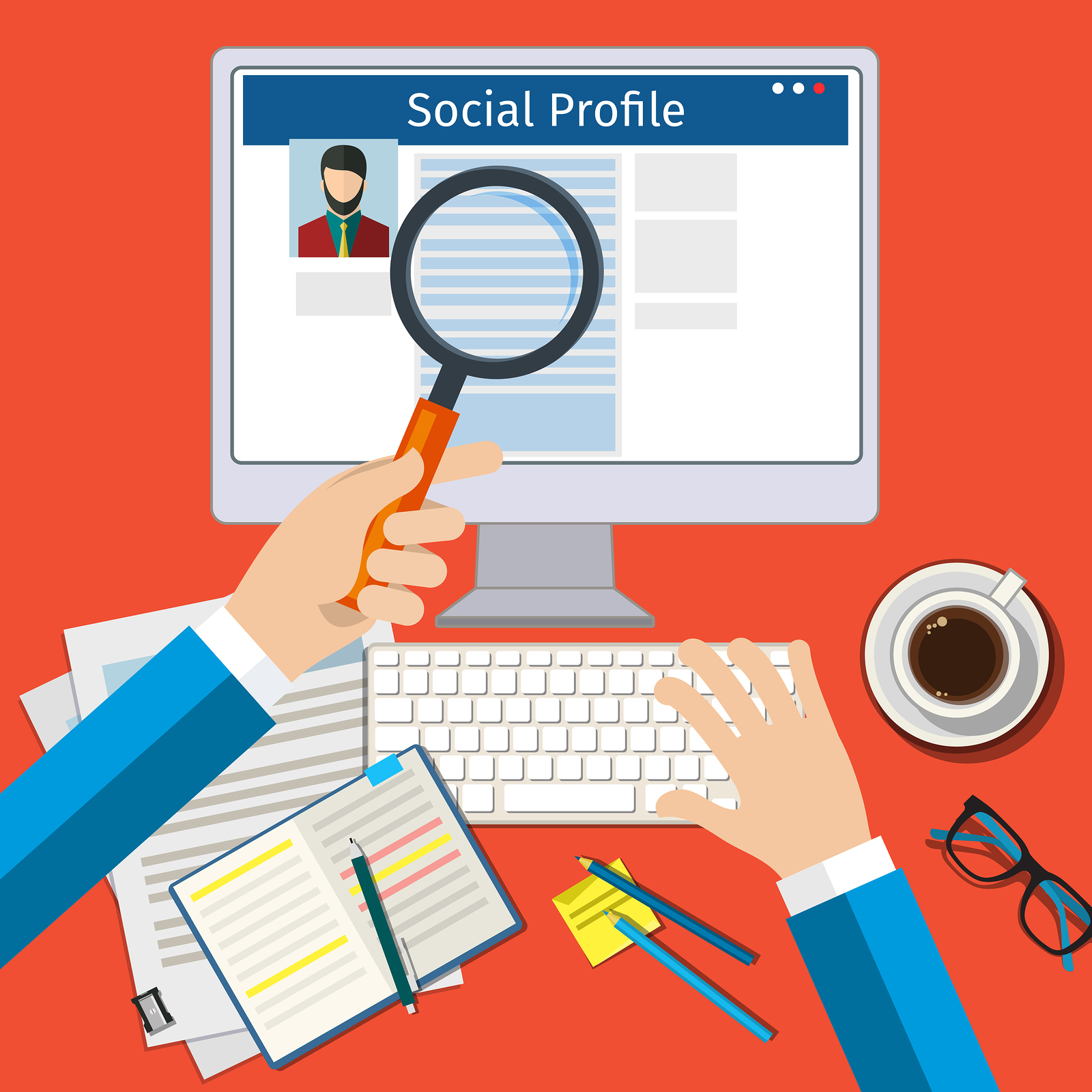 Search Social Profile. Screen with social network. Flat design, vector illustration.